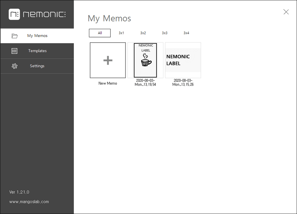 You can view memos saved from the My Memos window.