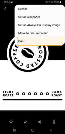 Select the Print menu from an app such as Gallery or E-mail.